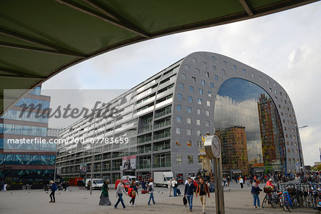 Exterior of new Markthal Rotterdam. The center of the market space is covered with a structure of residential apartments, Rotterdam, Netherlands Stock Photo - Rights-Managed, Image code: 700-07783659