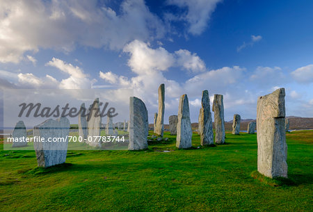 Callanish Stone Circle, a famous neolithic monument located on the Isle of Lewis in the chain of islands known as the Outer Hebrides, Scotland Stock Photo - Rights-Managed, Image code: 700-07783744