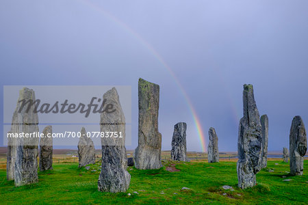 Callanish Stone Circle, a famous neolithic monument located on the Isle of Lewis in the chain of islands known as the Outer Hebrides, Scotland Stock Photo - Rights-Managed, Image code: 700-07783751