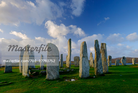 Callanish Stone Circle, a famous neolithic monument located on the Isle of Lewis in the chain of islands known as the Outer Hebrides, Scotland Stock Photo - Rights-Managed, Image code: 700-07783752