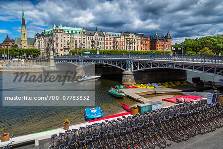 Bicycles and paddle boats for rent next to the Djurgarden Bridge at the island of Djurgarden, Stockholm, Sweden Stock Photo - Rights-Managed, Image code: 700-07783832