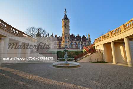 Courtyard at Schwerin Castle, Schwerin, Western Pomerania, Mecklenburg-Vorpommern, Germany Stock Photo - Rights-Managed, Image code: 700-07784575