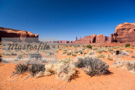 Scenic overview of Monument Valley, Arizona, USA Stock Photo - Rights-Managed, Image code: 700-07802622