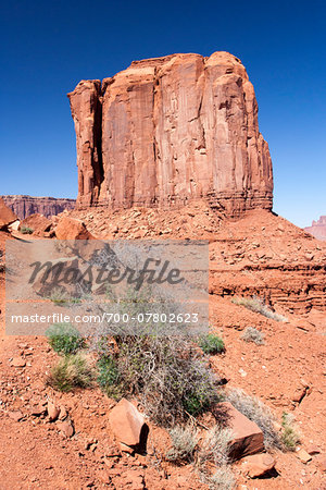 Butte rock formation, Monument Valley, Arizona, USA Stock Photo - Rights-Managed, Image code: 700-07802623