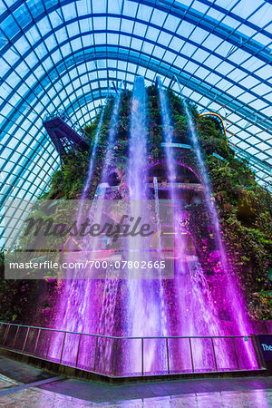 Water fountain at Cloud Forest conservatory, Gardens by the Bay, Singapore Stock Photo - Rights-Managed, Image code: 700-07802665