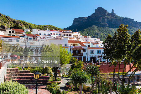 Mountain village of Tejeda with Roque Nublo in the background, Gran Canaria, Las Palmas, Canary Islands Stock Photo - Rights-Managed, Image code: 700-07849640