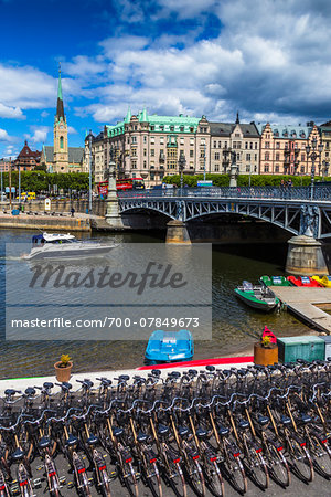 Bicycles and paddle boats for rent next to the Djurgarden Bridge on the island of Djurgarden, Stockholm, Sweden Stock Photo - Rights-Managed, Image code: 700-07849673