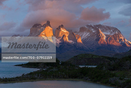 View over Lago Pehoe towards Torres Mountain Range, Torres del Paine National Park, Patagonia, Chile Stock Photo - Rights-Managed, Image code: 700-07911159