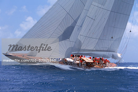 Endeavour Sails to Windward off Coast of Antigua during 2001 Antigua Classic Yacht Regatta Stock Photo - Rights-Managed, Image code: 700-07965840