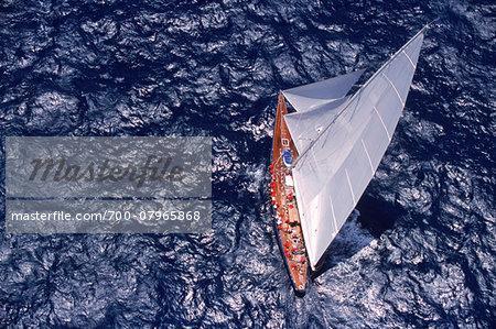 Aerial View from Helicopter of Endeavour Racing off Coast of Antigua during 2001 Antigua Classic Yacht Regatta Stock Photo - Rights-Managed, Image code: 700-07965868