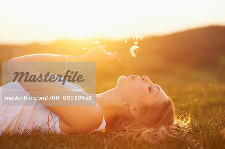 Young woman holding a dandelion in her hand lying on a meadow at sunset in spring, Germany Stock Photo - Rights-Managed, Image code: 700-08080556