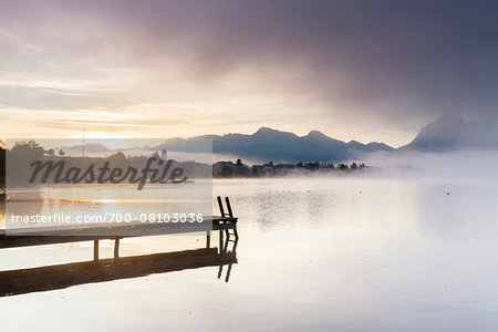 Jetty in Autumn, Lake Hopfensee, Swabia, Bavaria, Germany Stock Photo - Rights-Managed, Image code: 700-08103036