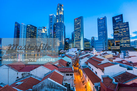 Boat Quay and Skyline at Dusk, Central Region, Singapore Stock Photo - Rights-Managed, Image code: 700-08167184