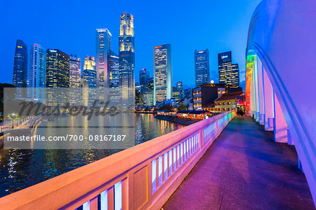 Elgin Bridge over Singapore River with Skyline at Dusk, Central Region, Singapore Stock Photo - Rights-Managed, Image code: 700-08167187
