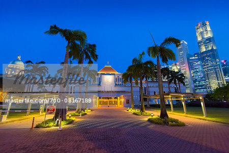 Parliament House and Skyline at Night, Central Region, Singapore Stock Photo - Rights-Managed, Image code: 700-08167189