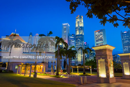 Parliament House and Skyline at Night, Central Region, Singapore Stock Photo - Rights-Managed, Image code: 700-08167190