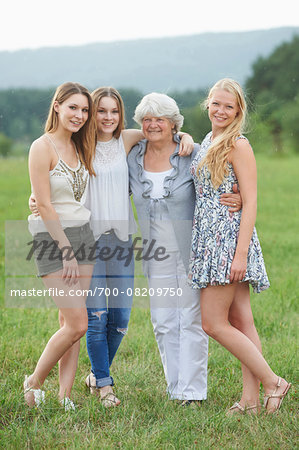 Portrait of Grandmother with Granddaughters Outdoors, Bavaria, Germany Stock Photo - Rights-Managed, Image code: 700-08209750
