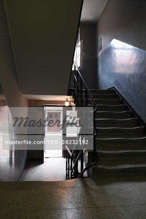 Interior of building with staircase, Auschwitz, Poland Stock Photo - Rights-Managed, Image code: 700-08232192
