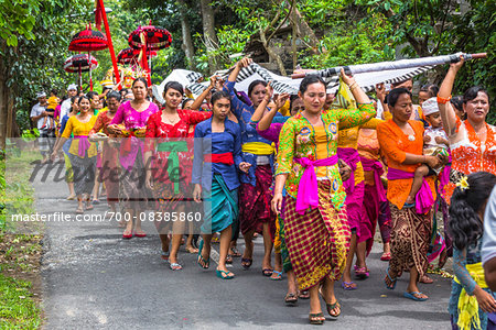 Procession at a temple festival, Petulu, near Ubud, Bali, Indonesia Stock Photo - Rights-Managed, Image code: 700-08385860