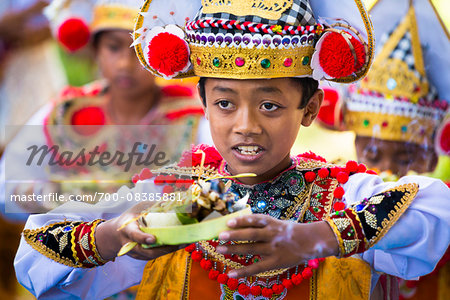 Young Baris dancers at a temple festival, Gianyar, Bali, Indonesia Stock Photo - Rights-Managed, Image code: 700-08385881