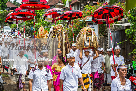People carrying sacred Barongs in a parade at a temple festival in Petulu Village, near Ubud, Bali, Indonesia Stock Photo - Rights-Managed, Image code: 700-08385892