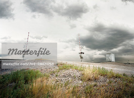 A railroad crossing with memorial on side of road, Montana, USA Stock Photo - Rights-Managed, Image code: 700-08421759