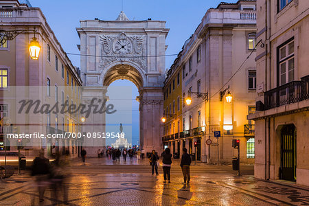 Rua Augusta Arch (Arco Triunfal), Praca do Comercio at dusk, Baixa District, Lisbon, Portugal Stock Photo - Rights-Managed, Image code: 700-08519548