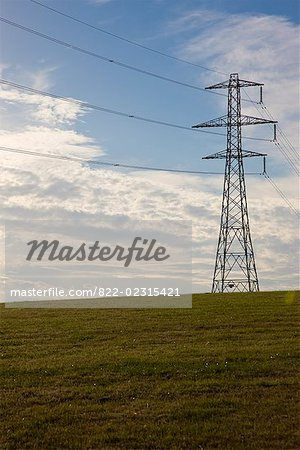 Electricity pylon on a field Stock Photo - Rights-Managed, Image code: 822-02315421