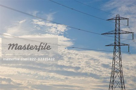 Electricity pylon with blue sky Stock Photo - Rights-Managed, Image code: 822-02315422