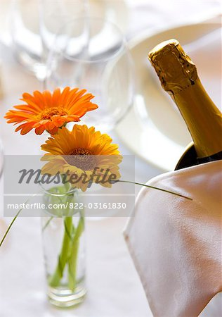 Close up of a vase with flowers and champagne bottle on a restaurant table Stock Photo - Rights-Managed, Image code: 822-03161830