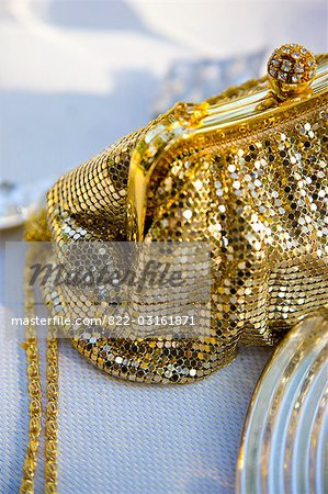 Gold chain mail handbag with rhinestone ball clasp Stock Photo - Rights-Managed, Image code: 822-03161871