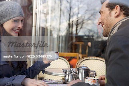 Young couple at cafe, Paris, France Stock Photo - Rights-Managed, Image code: 822-03485275
