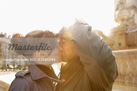 Close up of a couple kissing Stock Photo - Rights-Managed, Image code: 822-03485299
