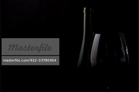 Glass and Wine Bottle Stock Photo - Rights-Managed, Image code: 822-03780954