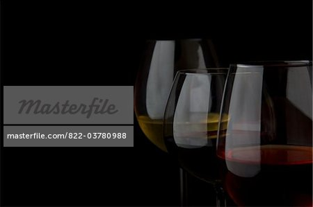 Glasses of White, Red and Rose Wines Stock Photo - Rights-Managed, Image code: 822-03780988