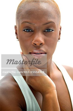 Young Woman with Hand on Face Stock Photo - Rights-Managed, Image code: 822-05554323