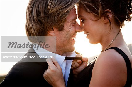 Smiling Couple about to Kiss Stock Photo - Rights-Managed, Image code: 822-05554370