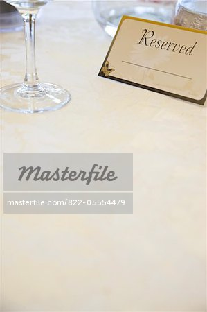 Place Setting and Reserved Sign Stock Photo - Rights-Managed, Image code: 822-05554479