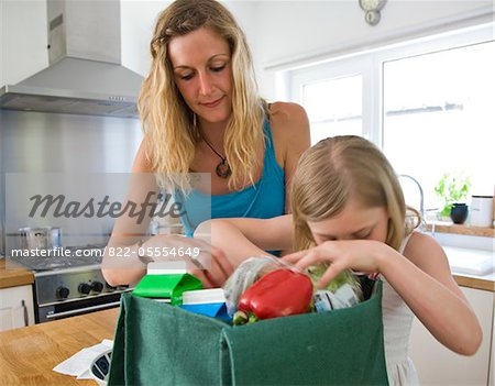 Mother and Daughter Unpacking Groceries Stock Photo - Rights-Managed, Image code: 822-05554649