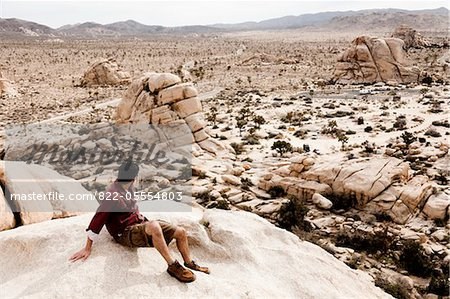 Man Sitting on Boulder Admiring View Stock Photo - Rights-Managed, Image code: 822-05554803