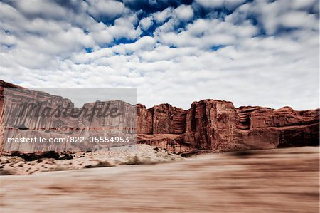 Sandstone Formations and Cloudy Sky, Blurred Motion Stock Photo - Rights-Managed, Image code: 822-05554953