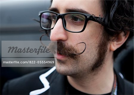 Man with Curled Pointy Moustache Stock Photo - Rights-Managed, Image code: 822-05554969
