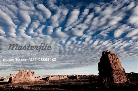 Sandstone Fins and Cloud Formations Stock Photo - Rights-Managed, Image code: 822-05555063