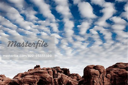 Sandstone Formations and Cloudy Blue Sky Stock Photo - Rights-Managed, Image code: 822-05555100