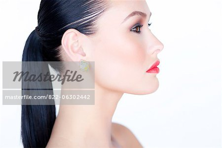 Profile of Woman with Red Lipstick Stock Photo - Rights-Managed, Image code: 822-06302442