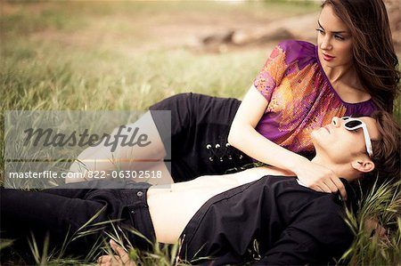 Young Couple In a Meadow Stock Photo - Rights-Managed, Image code: 822-06302518