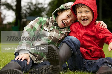 Two Boys Laughing Outdoors Stock Photo - Rights-Managed, Image code: 822-06302607
