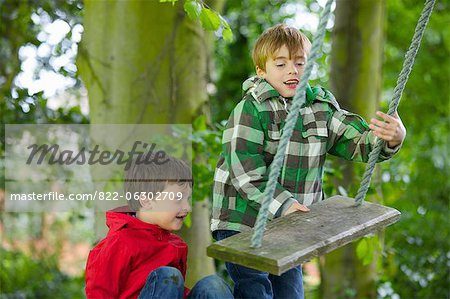 Two Boys Playing on a Swing Stock Photo - Rights-Managed, Image code: 822-06302709