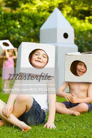 Boys Wearing Homemade Cardboard Helmets Stock Photo - Rights-Managed, Image code: 822-06302721