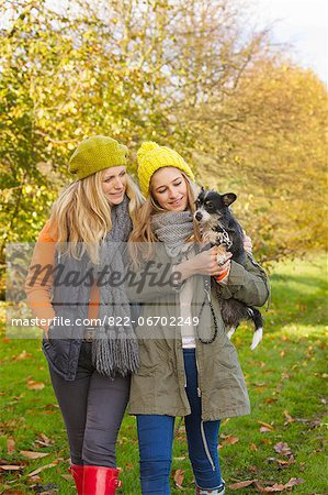 Mother and Daughter Walking in Park Carrying Dog Stock Photo - Rights-Managed, Image code: 822-06702249